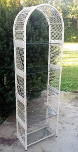 Tall Wicker and Glass Shelf Unit Plant Shelf in Yorkville, Illinois