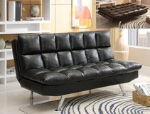 INVENTORY BLOWOUT ! QUALITY UPSCALE BLK LEATHER SOFA BED SLEEPER / FUTON in Camp Pendleton, California