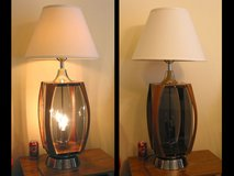 Vintage Retro Table Lamp '70s Moderne Walnut, Plexiglas, Chrome MCM in Westmont, Illinois