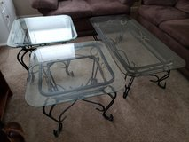 Glass coffee table and end tables in Fort Riley, Kansas
