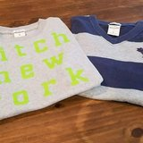 $5.00 Boys Large Abercrombie Set Of 2 Muscle Shirts  Both Short Sleeved  Navy/Gray Striped VNeck... in Leesville, Louisiana