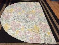 """Floral Print, Oval Vinyl Tablecloth 59""""W x 82""""L w/Flannel backing in Westmont, Illinois"""