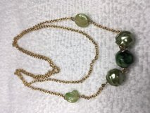 Vintage Necklace Gold Chain Green Beads Centered Long Lightweight Unusual in Kingwood, Texas