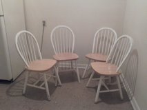 4 White and Tan Solid Wood Chairs in Beaufort, South Carolina