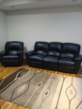 Leather couch and recliner dark blue in Naperville, Illinois