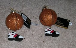 2 BASKETBALL WITH SHOE CHRISTMAS TREE ORNAMENTS - NEW - EXCELLENT CONDITION in Bellevue, Nebraska