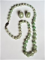Vintage Aventurine Graduating Bead Necklace with Matching Post Earrings in San Antonio, Texas