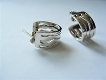 Erwin Pearl Sterling Silver Small Huggy Style Zig Zag Design Pierced Earrings in Lackland AFB, Texas