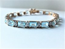 Ross Simons Blue Topaz Tennis Link Bracelet – 18 KT Gold Over Sterling Silver in Lackland AFB, Texas