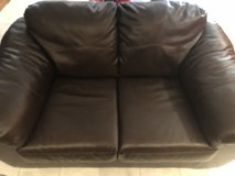 Brown leather love seat in Wheaton, Illinois