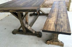 Rustic Farmhouse Dining Table w/Bench in Kingwood, Texas