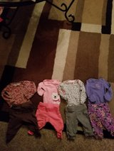Lot of 4 2pc infant girl outfits all size newborn in Fairfield, California