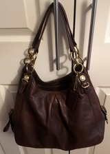 REAL COACH CHOCOLATE BROWN LEATHER PURSE in Lakenheath, UK