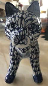Blue & White  Ceramic/Porcelain Cat in Lockport, Illinois