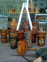 Beautiful  VINTAGE hand painted Wooden Carved Umbrella stand walkingstick Keeping Bucket stand... in Wiesbaden, GE