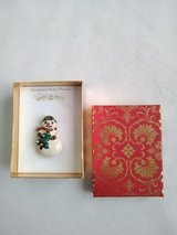 Ceramic Snowman Jewelry Pin Made by Shiny Brite - New in Box in Aurora, Illinois