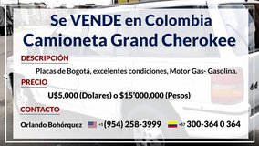 Se VENDE en COLOMBIA, Camioneta Jeep Grand Cherokee in Melbourne, Florida
