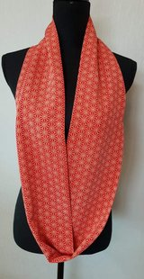 Silk Kimono Scarf  red geometric in Okinawa, Japan
