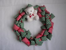 "Fabric Red/Green Christmas Wreath w/ Attached Teddy Bear - Exc Used Cond - 16"" Diameter in Joliet, Illinois"