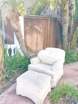 Pottery Barn Plus gliding rocking chair off white/cream colored with ottoman in Camp Pendleton, California