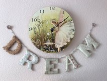 Beautiful hand painted fairy clock and wall hanging with hand beaded dream banner in Camp Pendleton, California