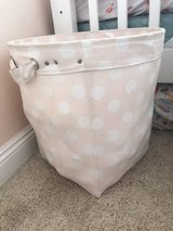 Pottery  Barn soft pink and white polka dot storage bin in Camp Pendleton, California