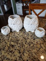 set of 4 white owl ceramic planters in Chicago, Illinois