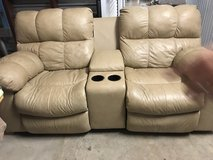 Leather tan reclining sofa in Lackland AFB, Texas