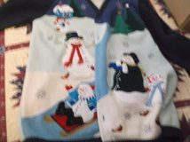 QUAKER FACTORY two tone blue snowman sweater size large in Alamogordo, New Mexico