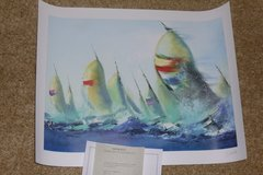 """July Sails"" seriolithograph wall art, unframed, colorful in Katy, Texas"