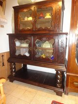 Baroque antique display cabinet, fire cabinet 19th century, hand-carved solid oak in Ramstein, Germany