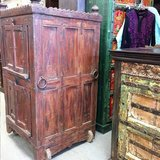 Antique Almirah Furniture Red Cabinet Vintage Indian Armoire on wheels Mediterranean Boho Shabby... in Birmingham, Alabama