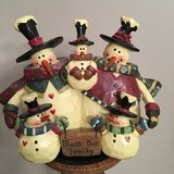 "5x5 Resin Christmas ""BLESS OUR FAMILY"" of 5 Snowmen in Joliet, Illinois"