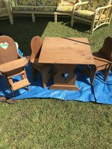 Handmade Children's Table, Chairs & Doll highchair in Camp Lejeune, North Carolina