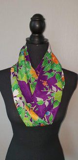 Kimono scarf purple tropical flowers in Okinawa, Japan