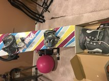 snowboard and boots in Naperville, Illinois
