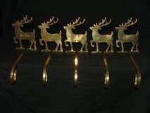 Reindeer Mantel Stocking Holders Brass / Names Engraved in Lockport, Illinois