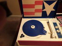 Vintage Record player red white blue in Palatine, Illinois