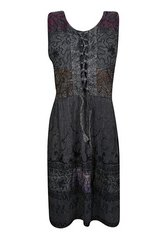 Women Sundress Stonewashed Black Embroidered Sleeveless Beach Dresses in Dothan, Alabama