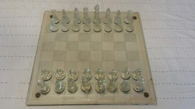 Chess  set, clear and frosted pieces in Warner Robins, Georgia