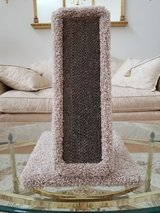 New Carpeted Wood and Heavy Duty Corrugated Cardboard Front Cat Scratching Post in Plainfield, Illinois