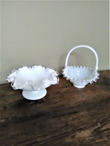VTG Silver Crested Milk Glass Small Bridal Basket and Pedestal Candy Dish - VGUC in Joliet, Illinois