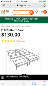 Full size metal bed frame in Beaufort, South Carolina