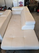 White Bonded Leather Sectional Couch in Camp Lejeune, North Carolina
