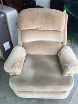 Action Lane SWIVEL/ROCKER/RECLINER all in one. Beige Velour Style Fabric with Armrest Covers. in Morris, Illinois