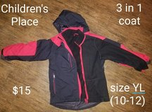 The Children's Place 3-in-1 jacket ~ Youth L (10/12) in Houston, Texas
