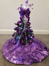 Desk Christmas Tree w/ Purple Ornaments in Fort Campbell, Kentucky