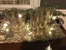 Vintage Frosted Gold Leaf Ice Bucket & Glasses in Bolingbrook, Illinois