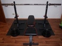 Barbell Rack, Bench, and Weight Set in Grafenwoehr, GE