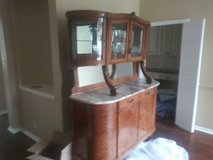 1856 marble, wood, glass cabinet in Converse, Texas